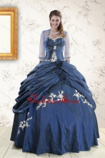 Perfect Sweetheart Navy Blue Quinceanera Dresses with Wraps XFNAO693AFOR
