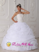 Pichanaqui Peru  Ruffled White Strapless 2013 wholesale Quinceanera Dress In New York Lace Floor-length Organza Style QDZY186FOR