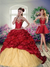 Pretty 2015 Sweetheart Wine Red Brush Train Quinceanera Dress with Beading ZY775TZFOR