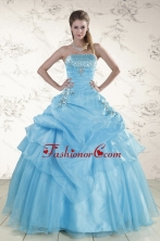 Pretty Aqua Blue 2015 Strapless Quinceanera Dresses with Beading XFNAO549FOR