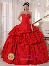 Puno Peru Red wholesale Quinceaners Dress Sweetheart Ball Gown for Formal Evening lace up bodice With Pick-ups and Beading Style PDZY593FOR