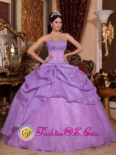 Puno Peru Remarkable 2013 Lavender Beading Pick-ups Quinceanera Ball Gown Dress With Strapless Organza Style QDZY641FOR