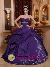 Querecotillo Peru Customize Sweetheart wholesale Quinceanera Dresses Taffeta Eggplant Purple Embroidery With Ruched Bodice Style QDZY654FOR