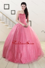 Simple Sweetheart Sequins Quinceanera Dress in Rose Pink For 2015 XFNAO825FOR
