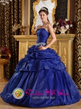 Tarma Peru Ruched Bodice Royal Blue wholesale Quinceanera Dress With Appliques and Pick ups In South Carolina Style QDZY180FOR