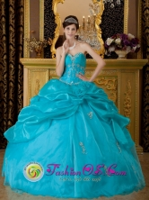 Trujillo Peru Appliques Decorate Teal wholesale Quinceanera Dress For 2013 With Hand Made Flower and Pick-ups Style QDZY153FOR