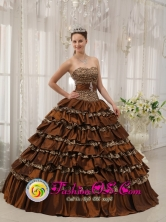 2013 Barceloneta Puerto Rico Quinceanera Dress Modest Brown In Georgia Sweetheart Taffeta and  Leopard or zebra Ruffles Ball Gown Wholesale Style QDZY373FOR