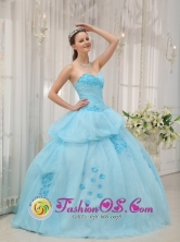 2013 Bayamon Puerto Rico Inexpensive Light Blue Sweethear Sweet 16 Dress For Quinceanera Gown Wholesale  Style QDZY300FOR