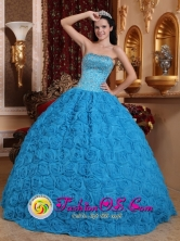 2013 Canovanas Puerto Rico Gorgeous Blue Sweet Quinceanera Dress Fabric With Rolling Flowers Ball Gown Strapless Beading Ball Gown Wholesale Style QDZY576FOR