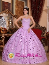 2013 Ciales Puerto Rico Tulle Sweetheart Lavender Stylish Quinceanera Dress With Sequins Wholesale  Style QDZY547FOR