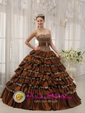2013 San Juan Puerto Rico Quinceanera Dress Modest Brown In Georgia Sweetheart Taffeta and  Leopard or zebra Ruffles Ball Gown Wholesale Style QDZY373FOR