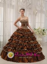2013 Santa Rita Honduras Quinceanera Dress Modest Brown In Georgia Sweetheart Taffeta and  Leopard or zebra Ruffles Ball Gown Wholesale  Style QDZY373FOR