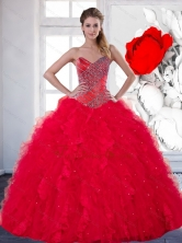 2014 Unique Sweetheart Red Quinceanera Dress with Beading and Ruffles QDDTC19002FOR