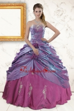 2015 Classic Purple Appliques Quinceanera Dresses with Strapless XFNAO313FOR