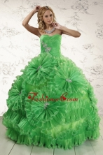 2015 Classical Sweetheart Green Quinceanera Dresses with Appliques and Ruffles XFNAO5754FOR