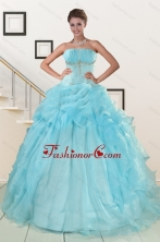 2015 Elegant Aqua Blue Quinceanera Dresses with Beading XFNAO820FOR