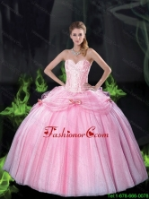 2015 Fall Beautiful Sweetheart Bowknot Quinceanera Dresses with Beading in Pink SJQDDT75002FOR