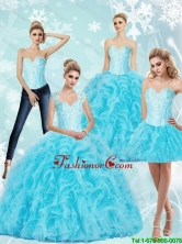 2015 Fall Luxurious Sweetheart Baby Blue Quinceanera Dresses with Beading and Ruffles SJQDDT72001FOR