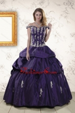 2015 Latest Off The Shoulder Appliques Quinceanera Dresses in Purple XFNAO135FOR