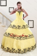 2015 Yellow Quinceanera Dress with Appliques and Ruffled Layers XFNAO561FOR