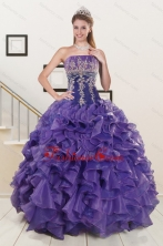 2015 Prefect Purple Sweet 15 Dresses with Embroidery and Ruffles XFNAO6017FOR