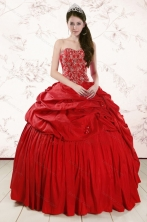 2015 Red Affordable Sweetheart Beading Quinceanera Dresses XFNAO207FOR