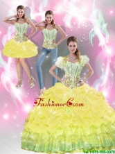 2015 Summer Beautiful Yellow Quinceanera Dresses with Beading and Pick Ups SJQDDT40001-4FOR
