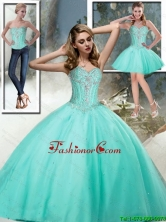 2015 Summer Luxurious Sweetheart Quinceanera Dresses with Beading in Aqua Blue SJQDDT68001FOR