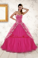 2015 Sweetheart Rose Pink Quinceanera Dresses with Sequins and Appliques XFNAO350FOR