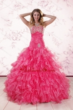 2015 Top Seller Sweetheart Hot Pink Quinceanera Dresses with  Ruffles XFNAO305FOR