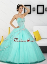 2015 Unique Beading Sweetheart Quinceanera Dresses in Apple Green QDDTC30002FOR
