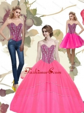 2015 Unique Beading Sweetheart Tulle Hot Pink Quinceanera Dresses QDDTA65001FOR
