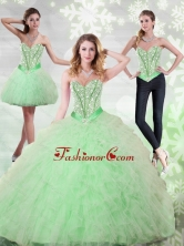 2015 Unique Beading and Ruffles Sweetheart Quinceanera Dresses in Apple Green QDDTA68001FOR