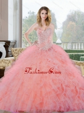 2015 Unique Beading and Ruffles Sweetheart Quinceanera Gown QDDTC27002-2FOR