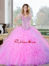 2015 Unique Beading and Ruffles Sweetheart Quinceanera Gown QDDTC27002FOR