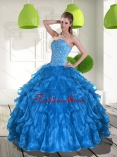 2015 Unique Blue Quinceanera Dress with Ruffles and Beading QDDTD9002FOR