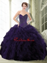 2015 Unique Purple Sweet 15 Dress with Beading and Ruffle QDDTC23002FOR