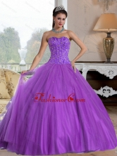 2015 Unique Sweetheart Ball Gown Quinceanera Dresses with Beading QDDTD7002FOR