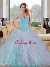 2015 Unique Sweetheart Multi Color Sweet 15 Dresses with Beading and Ruffles QDDTC31002-1FOR