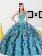 2015 Unique Sweetheart Quinceanera Dresses with Appliques and Ruffles QDDTC36002FOR
