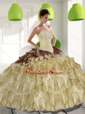 2015 Unique Sweetheart Sweet 15 Dresses with Beading and Ruffles QDDTC7002FOR