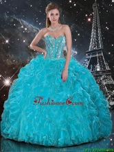 2016 Fall Discount Aqua Blue Sweetheart Quinceanera Gowns with Beading and Ruffles QDDTA109002FOR