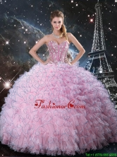 2016 Summer Popular Pink Sweetheart Quinceanera Dresses with Beading and Ruffles QDDTA113002FOR
