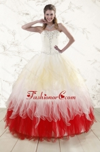 2016 Unique Multi Color Sweetheart Ruffled Quinceanera Dresses wth Beading XFNAOA11FOR