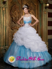 A-line Halter Lovely Beading and Pick-ups Organza White and Baby Blue For 2013  Quinceanera Wholesale Style QDZY085FOR