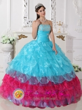 Appliques Layers Ruffled Aqua Blue and Hot Pink Quinceanera Dresses for Graduation In Gracias Honduras Wholesale  Style QDZY658FOR