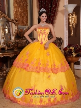 Autumn Yellow Quinceanera Dress With Organza and romantic Lace Appliques Decorate In Gurabo Puerto Rico Wholesale Style QDZY431FOR