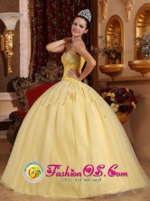 Beaded Decorate Sweetheart Light Yellow Floor-length Tulle Quinceanera Dresses For 2013 Ceiba Puerto Rico Spring Quinceanera Wholesale Style QDZY725FOR