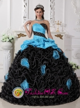 Beaded Decorate and Hand Made Flowers Customize Black and Aque Blue Ruffles Quinceanera Gowns For Sweet 16 In Coxen Hole   Honduras Wholesale  Style QDZY748FOR