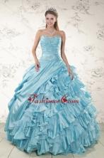 Beading Ruffles Aqua Blue Organza Quinceanera Dresses for 2015 XFNAO158FOR